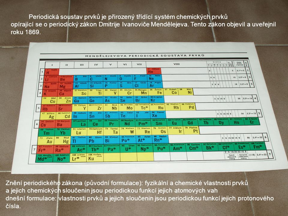 Periodická soustav prvků je přirozený třídící systém chemických prvků opírající se o periodický zákon Dmitrije Ivanoviče Mendělejeva.