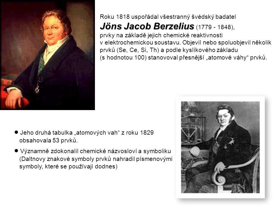 Roku 1818 uspořádal všestranný švédský badatel Jöns Jacob Berzelius Jöns Jacob Berzelius (1779 - 1848), prvky na základě jejich chemické reaktivnosti v elektrochemickou soustavu.