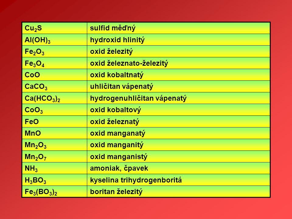 Cu 2 Ssulfid měďný Al(OH) 3 hydroxid hlinitý Fe 2 O 3 oxid železitý Fe 3 O 4 oxid železnato-železitý CoOoxid kobaltnatý CaCO 3 uhličitan vápenatý Ca(H