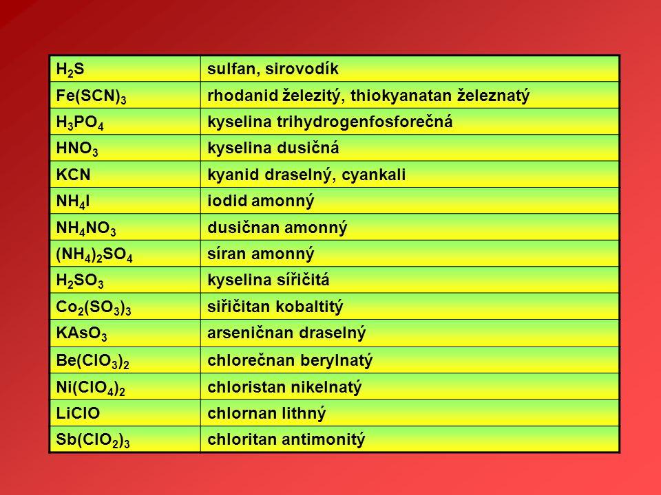 H2SH2Ssulfan, sirovodík Fe(SCN) 3 rhodanid železitý, thiokyanatan železnatý H 3 PO 4 kyselina trihydrogenfosforečná HNO 3 kyselina dusičná KCNkyanid d