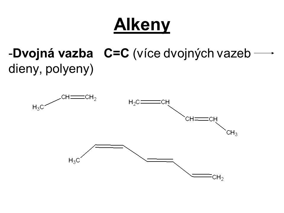 Alkeny -Dvojná vazba C=C (více dvojných vazeb dieny, polyeny)