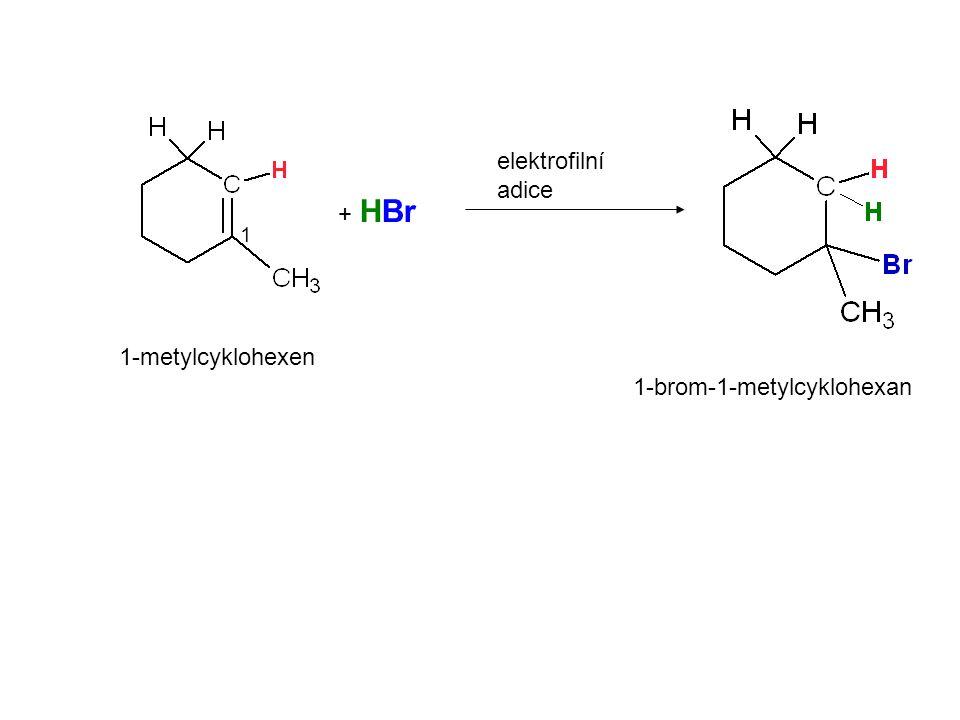 + HBr elektrofilní adice 1-metylcyklohexen 1 1-brom-1-metylcyklohexan