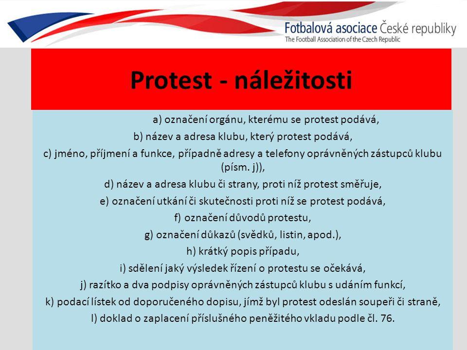 Protest - náležitosti a) označení orgánu, kterému se protest podává, b) název a adresa klubu, který protest podává, c) jméno, příjmení a funkce, přípa