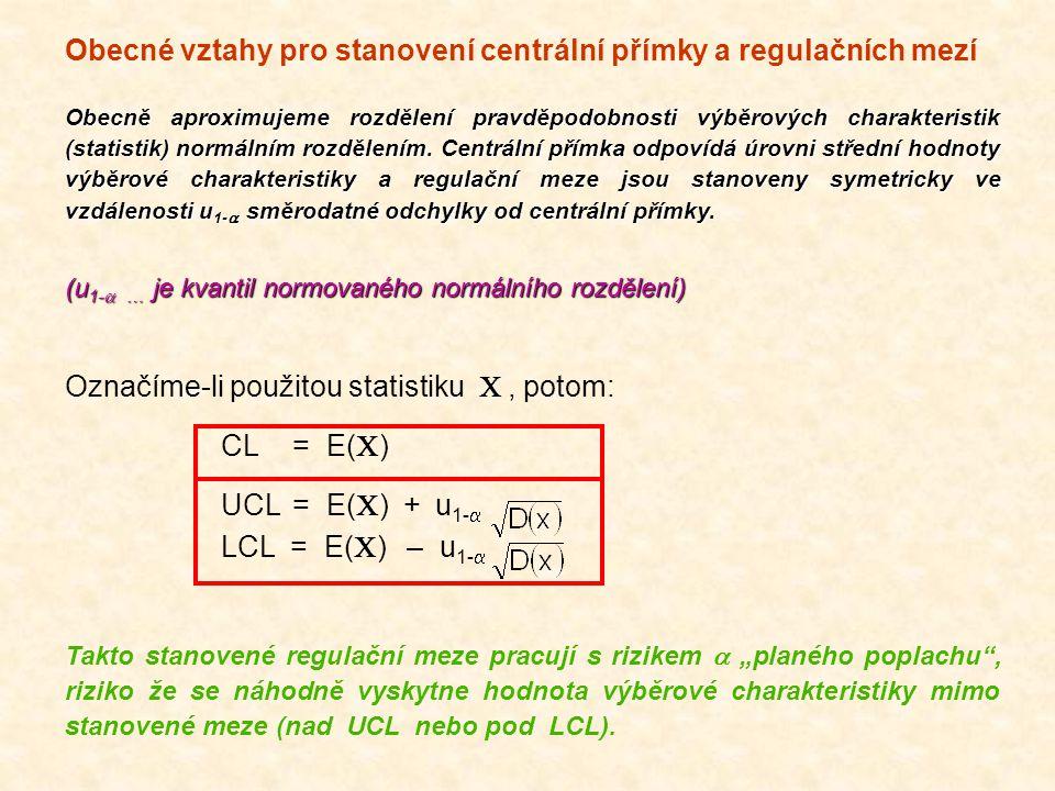 Obecné vztahy pro stanovení centrální přímky a regulačních mezí Obecně aproximujeme rozdělení pravděpodobnosti výběrových charakteristik (statistik) n