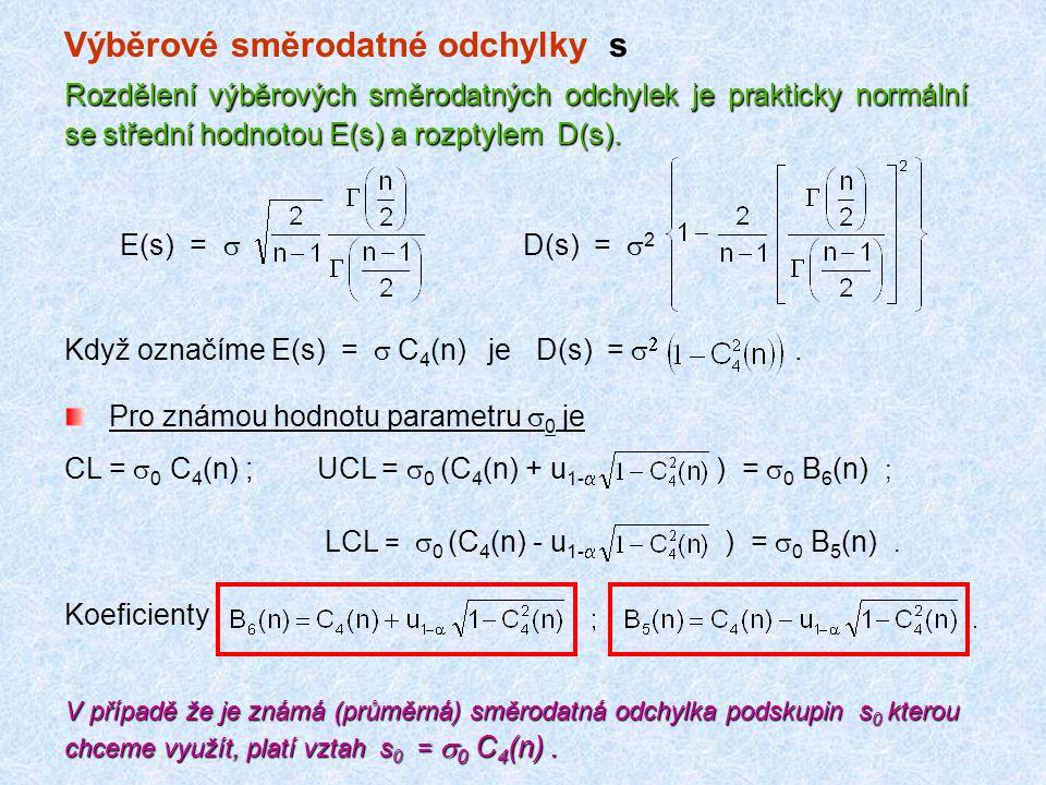 Výběrové směrodatné odchylky s Rozdělení výběrových směrodatných odchylek je prakticky normální se střední hodnotou E(s) a rozptylem D(s). E(s) =  D(