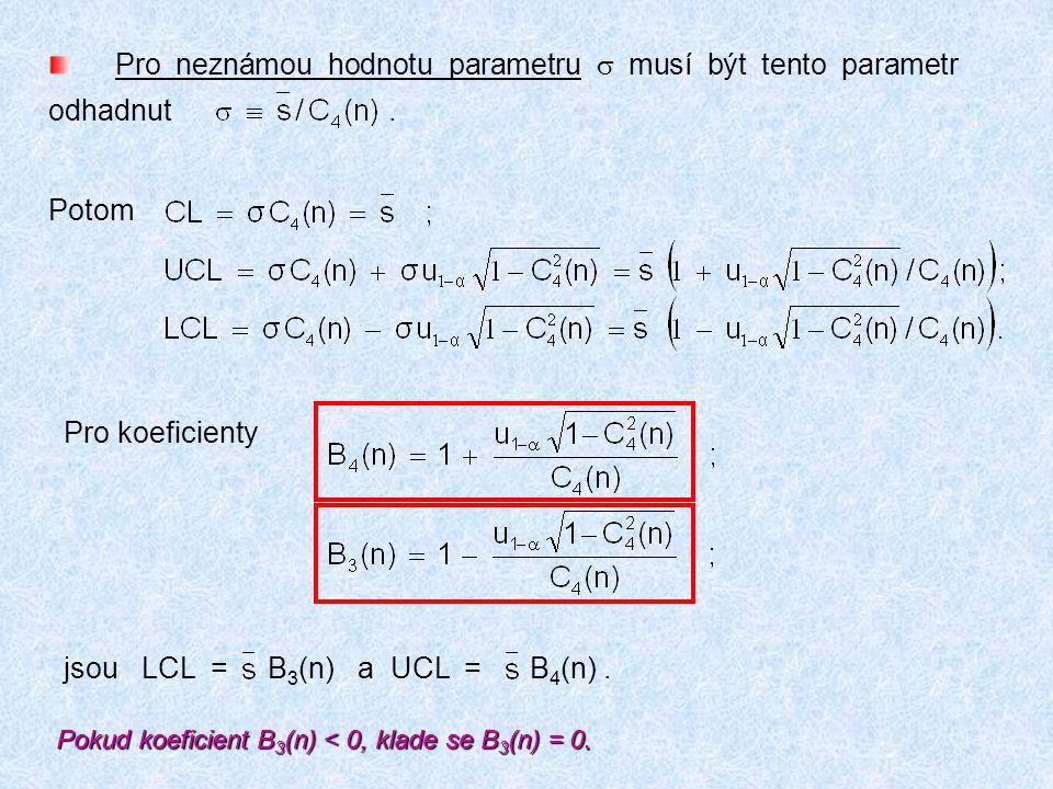 Pro koeficienty jsou LCL = B 3 (n) a UCL = B 4 (n). Pro neznámou hodnotu parametru  musí být tento parametr odhadnut. Potom Pokud koeficient B 3 (n)