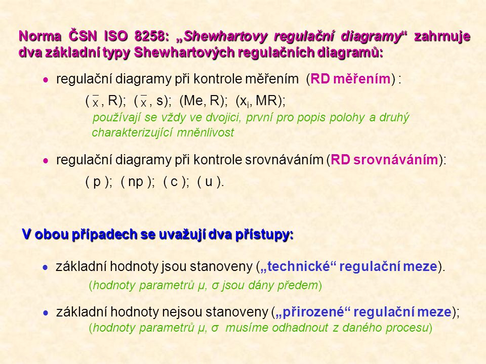 "Norma ČSN ISO 8258: ""Shewhartovy regulační diagramy"" zahrnuje dva základní typy Shewhartových regulačních diagramů:  regulační diagramy při kontrole"