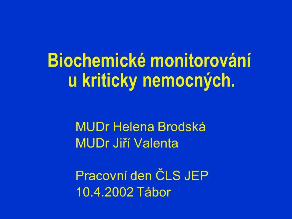 Biochemické monitorování u kriticky nemocných. MUDr Helena Brodská MUDr Jiří Valenta Pracovní den ČLS JEP 10.4.2002 Tábor