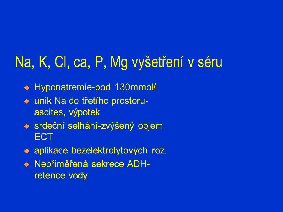 Na, K, Cl, ca, P, Mg vyšetření v séru  Hyponatremie-pod 130mmol/l  únik Na do třetího prostoru- ascites, výpotek  srdeční selhání-zvýšený objem ECT
