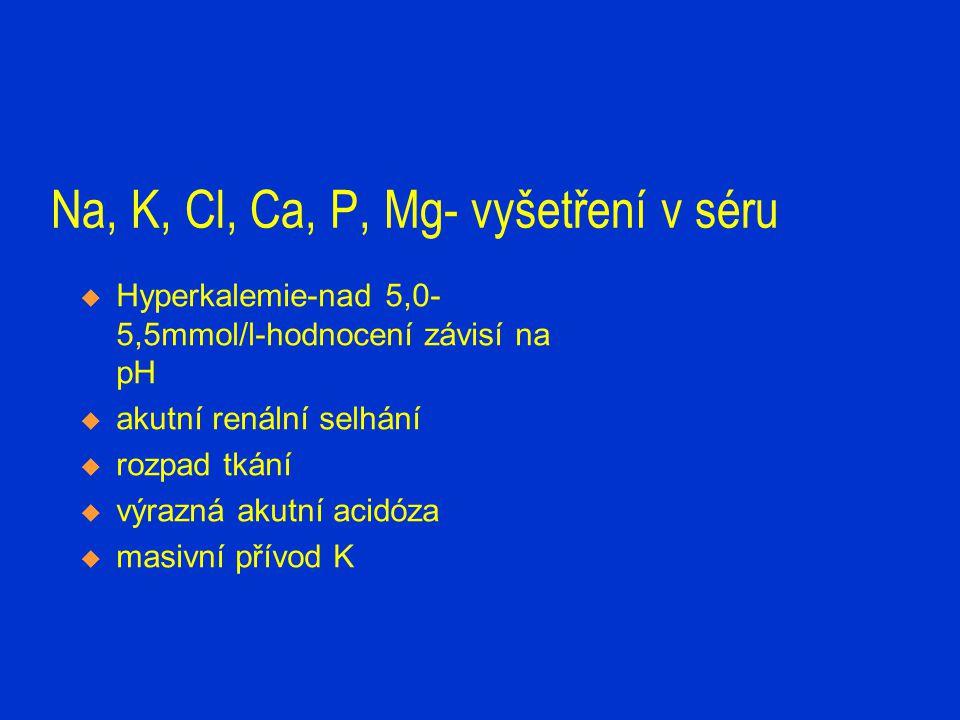 Na, K, Cl, Ca, P, Mg- vyšetření v séru  Hyperkalemie-nad 5,0- 5,5mmol/l-hodnocení závisí na pH  akutní renální selhání  rozpad tkání  výrazná akut