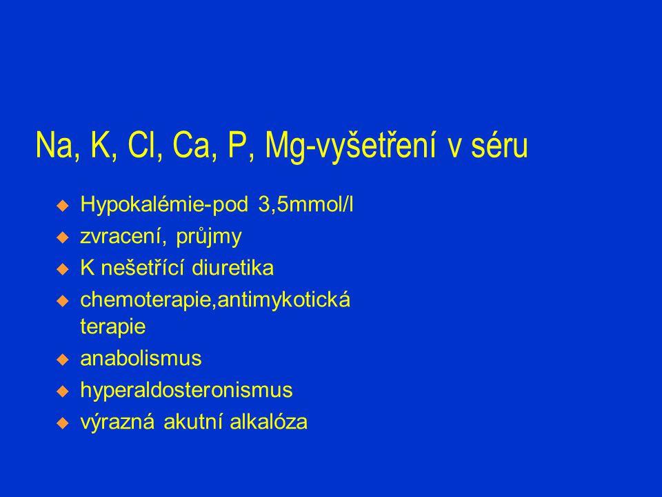 Na, K, Cl, Ca, P, Mg-vyšetření v séru  Hypokalémie-pod 3,5mmol/l  zvracení, průjmy  K nešetřící diuretika  chemoterapie,antimykotická terapie  an