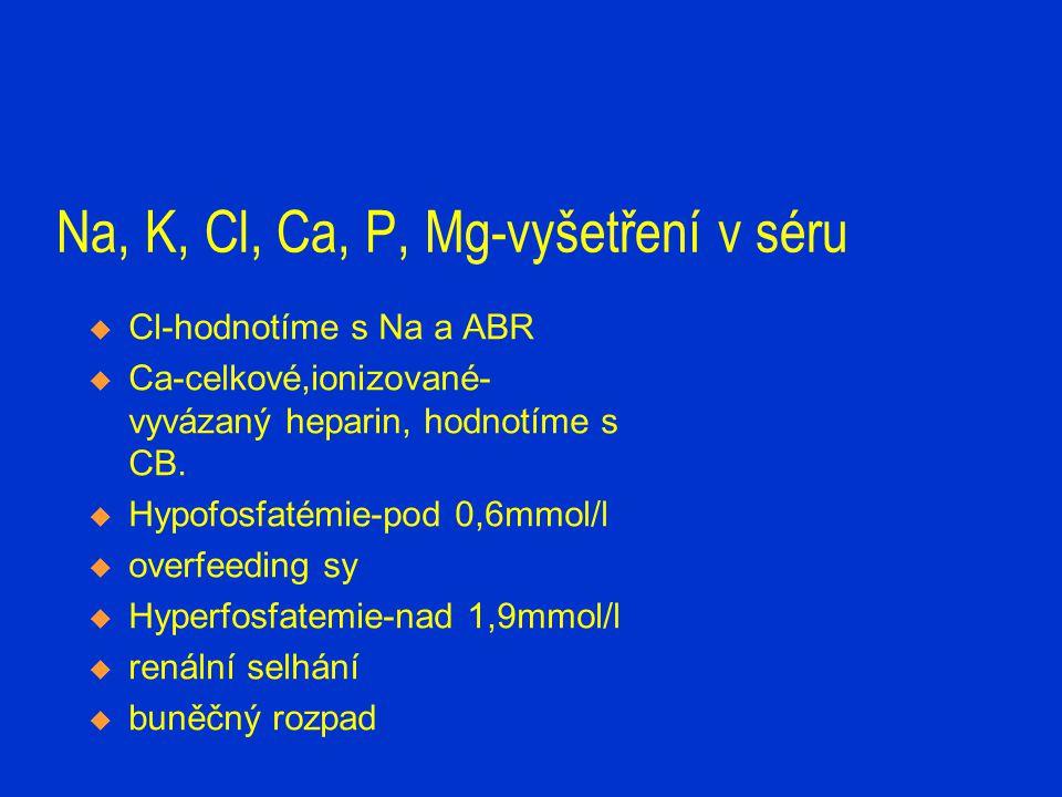 Na, K, Cl, Ca, P, Mg-vyšetření v séru  Cl-hodnotíme s Na a ABR  Ca-celkové,ionizované- vyvázaný heparin, hodnotíme s CB.  Hypofosfatémie-pod 0,6mmo
