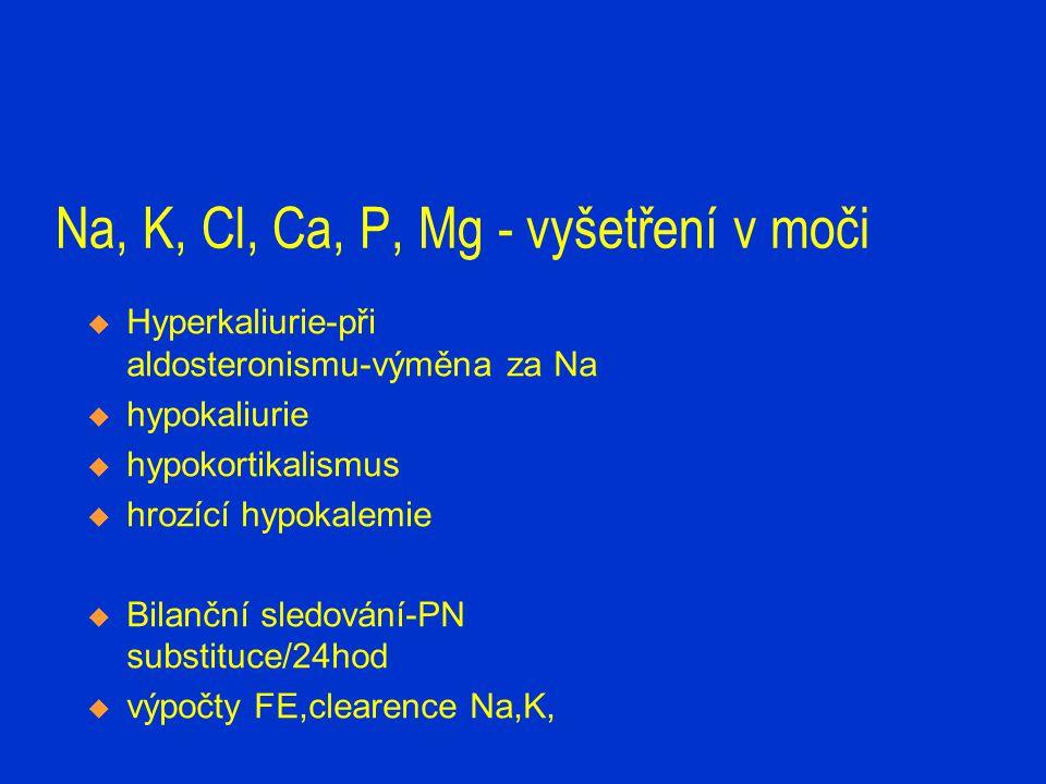 Na, K, Cl, Ca, P, Mg - vyšetření v moči  Hyperkaliurie-při aldosteronismu-výměna za Na  hypokaliurie  hypokortikalismus  hrozící hypokalemie  Bil