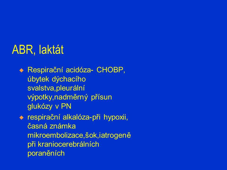 ABR, laktát  Respirační acidóza- CHOBP, úbytek dýchacího svalstva,pleurální výpotky,nadměrný přísun glukózy v PN  respirační alkalóza-při hypoxii, č