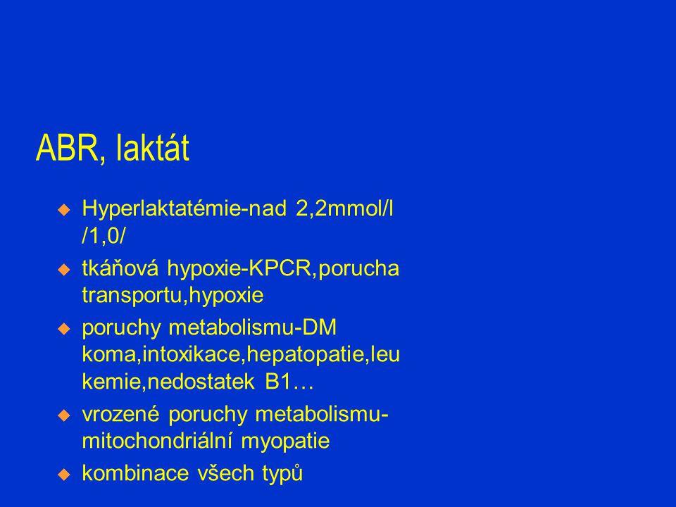 ABR, laktát  Hyperlaktatémie-nad 2,2mmol/l /1,0/  tkáňová hypoxie-KPCR,porucha transportu,hypoxie  poruchy metabolismu-DM koma,intoxikace,hepatopat
