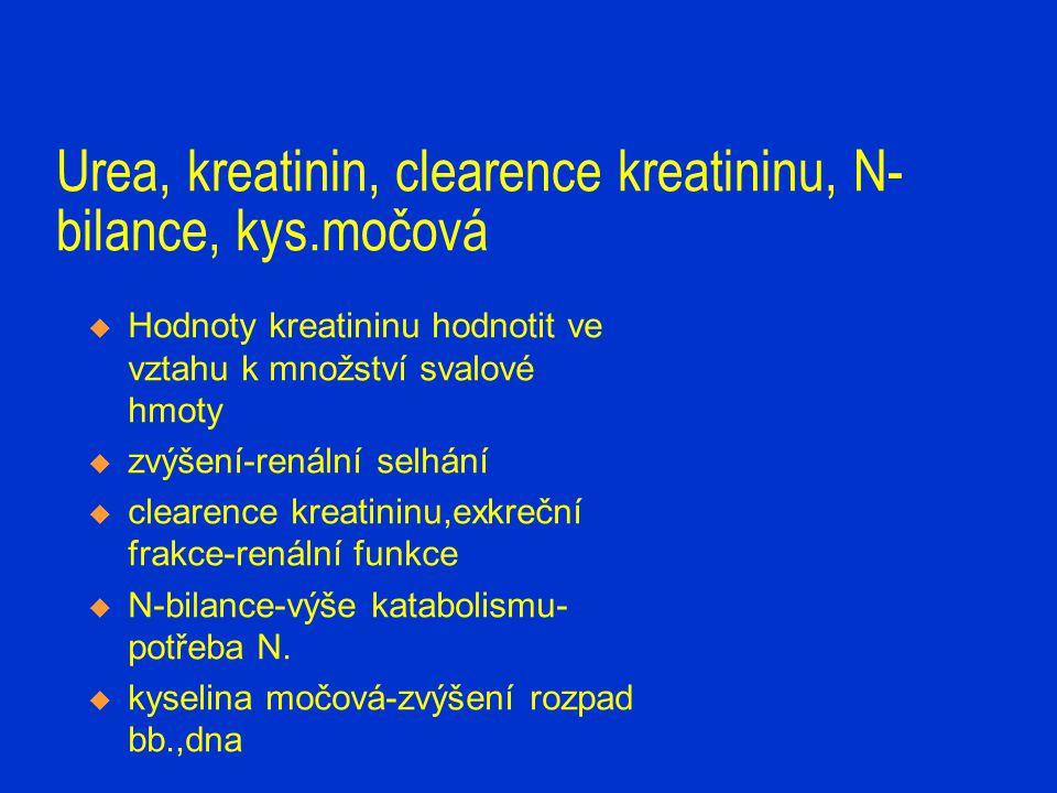Urea, kreatinin, clearence kreatininu, N- bilance, kys.močová  Hodnoty kreatininu hodnotit ve vztahu k množství svalové hmoty  zvýšení-renální selhá