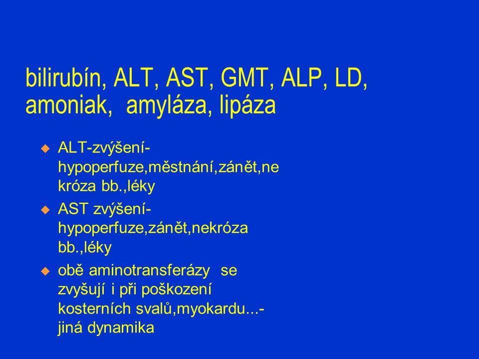 bilirubín, ALT, AST, GMT, ALP, LD, amoniak, amyláza, lipáza  ALT-zvýšení- hypoperfuze,městnání,zánět,ne króza bb.,léky  AST zvýšení- hypoperfuze,zán