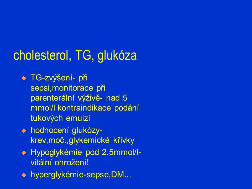 cholesterol, TG, glukóza  TG-zvýšení- při sepsi,monitorace při parenterální výživě- nad 5 mmol/l kontraindikace podání tukových emulzí  hodnocení gl