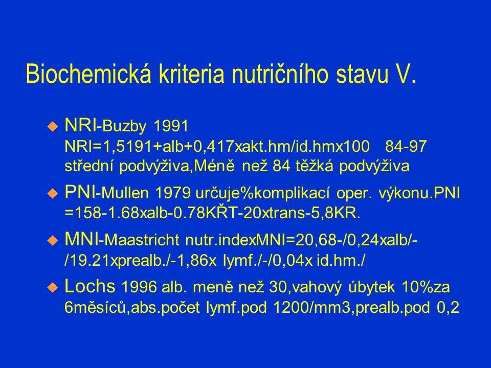 Biochemická kriteria nutričního stavu V.  NRI -Buzby 1991 NRI=1,5191+alb+0,417xakt.hm/id.hmx100 84-97 střední podvýživa,Méně než 84 těžká podvýživa 