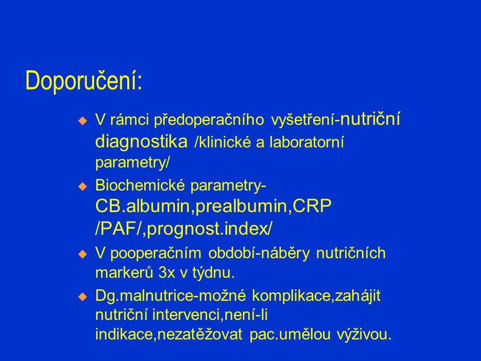 Doporučení:  V rámci předoperačního vyšetření- nutriční diagnostika /klinické a laboratorní parametry/  Biochemické parametry- CB.albumin,prealbumin