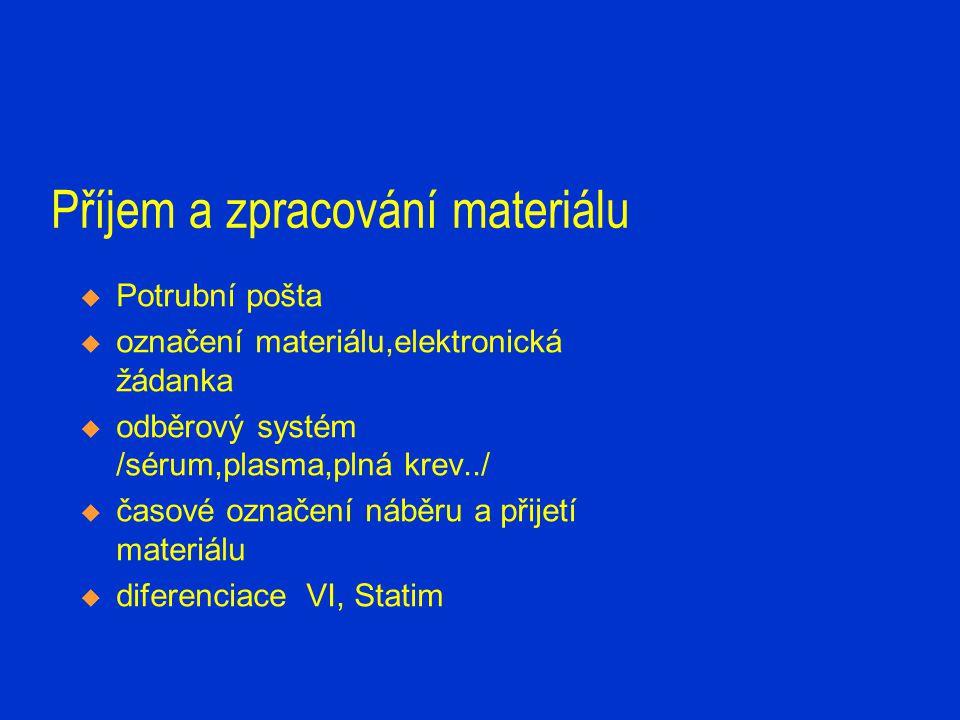 Příjem a zpracování materiálu  Potrubní pošta  označení materiálu,elektronická žádanka  odběrový systém /sérum,plasma,plná krev../  časové označen