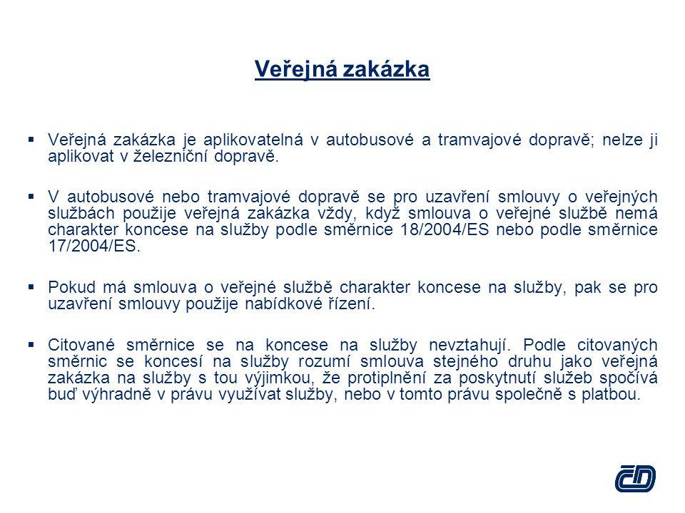 Veřejná zakázka  Veřejná zakázka je aplikovatelná v autobusové a tramvajové dopravě; nelze ji aplikovat v železniční dopravě.