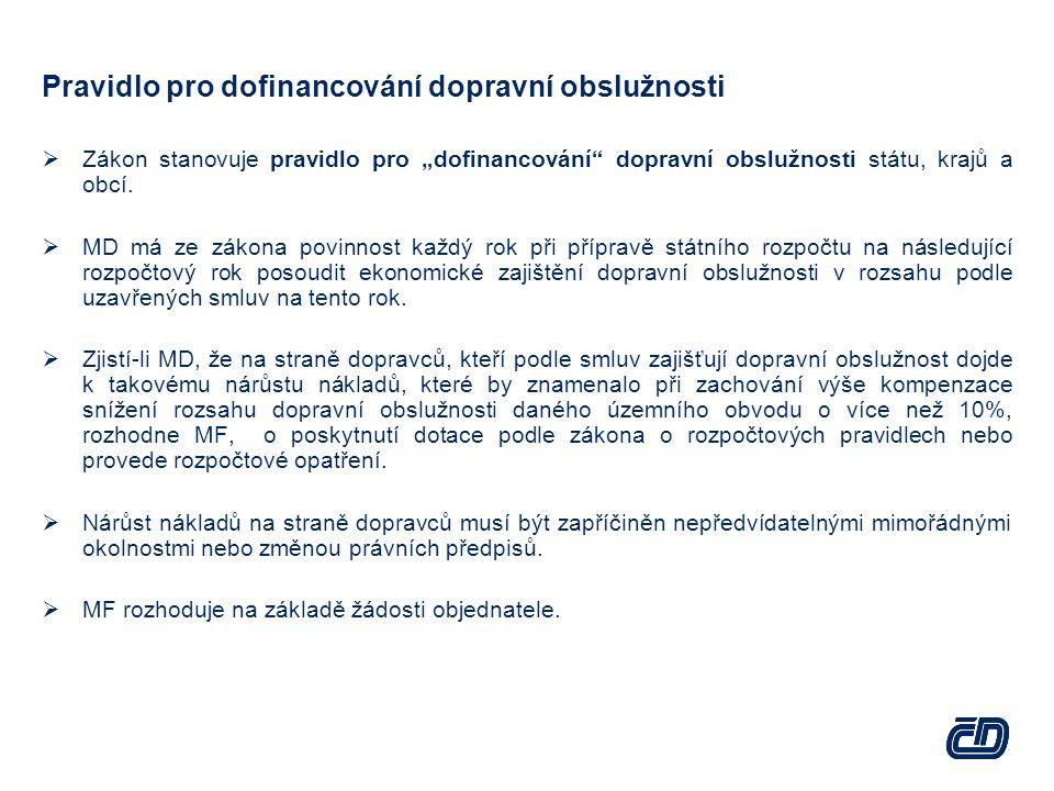 """Pravidlo pro dofinancování dopravní obslužnosti  Zákon stanovuje pravidlo pro """"dofinancování dopravní obslužnosti státu, krajů a obcí."""