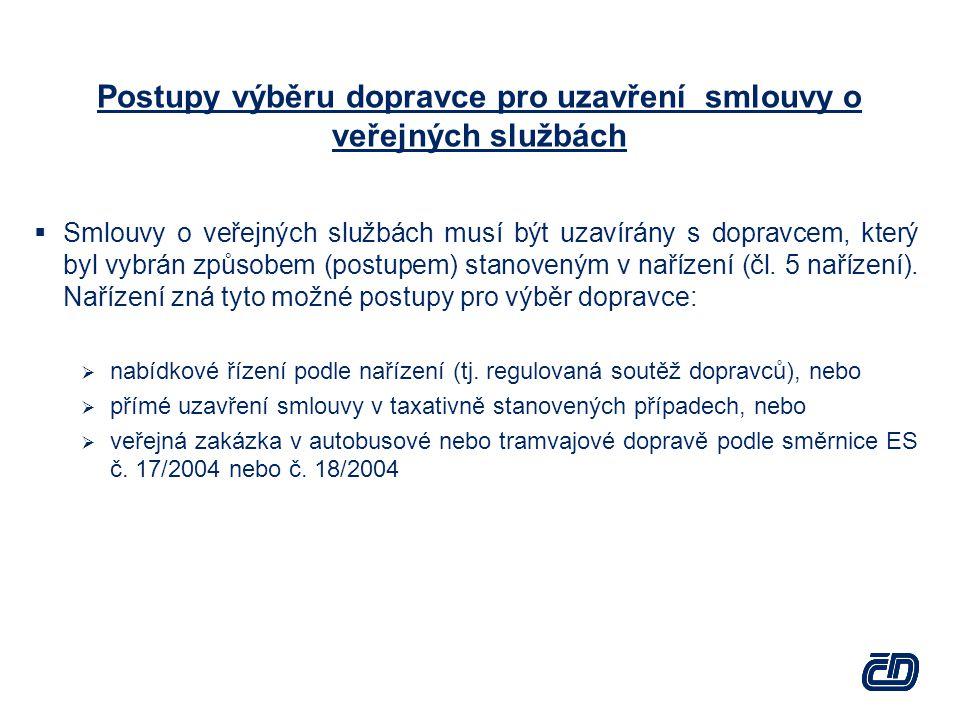 Postupy výběru dopravce pro uzavření smlouvy o veřejných službách  Smlouvy o veřejných službách musí být uzavírány s dopravcem, který byl vybrán způsobem (postupem) stanoveným v nařízení (čl.