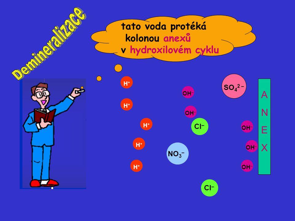 OH – H+H+ H+H+ H+H+ H+H+ H+H+ SO 4 2 – Cl – NO 3 – Cl – ANEXANEX tato voda protéká kolonou anexů v hydroxilovém cyklu