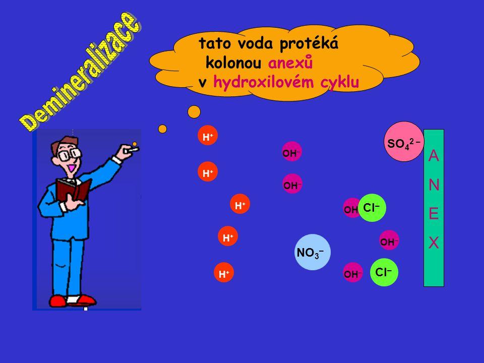 OH – H+H+ H+H+ H+H+ H+H+ H+H+ Cl – NO 3 – Cl – OH – SO 4 2 – ANEXANEX tato voda protéká kolonou anexů v hydroxilovém cyklu