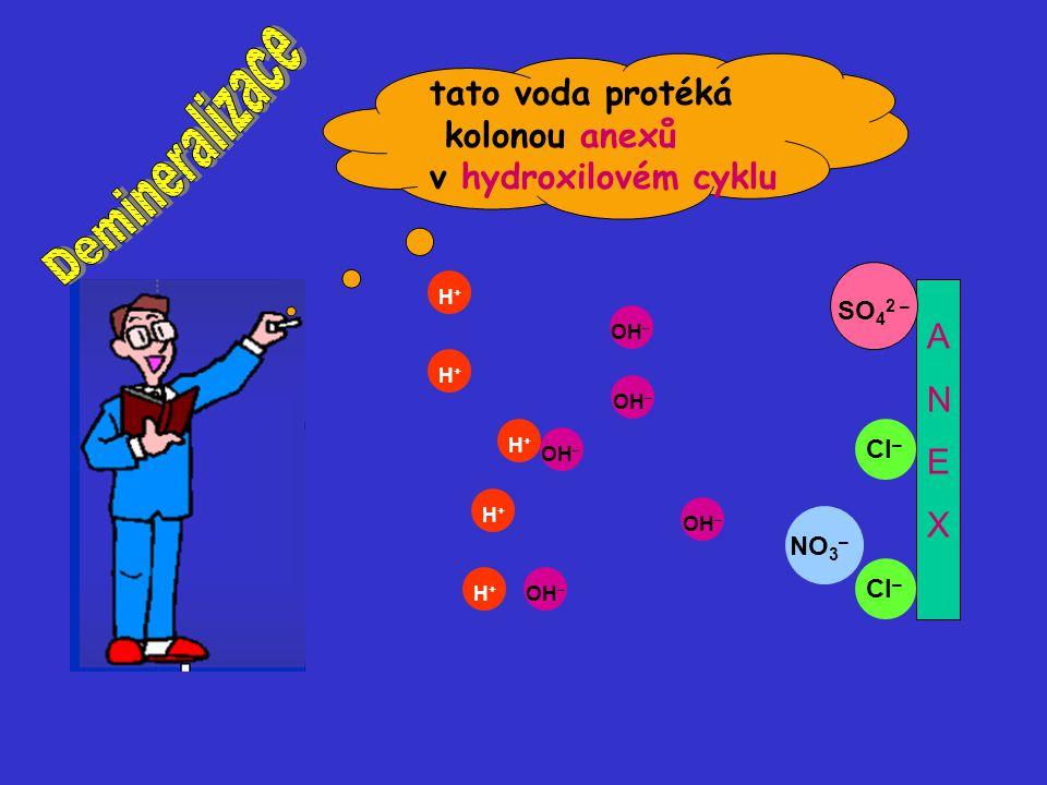 OH – H+H+ H+H+ H+H+ H+H+ H+H+ NO 3 – OH – SO 4 2 – OH – Cl – ANEXANEX tato voda protéká kolonou anexů v hydroxilovém cyklu