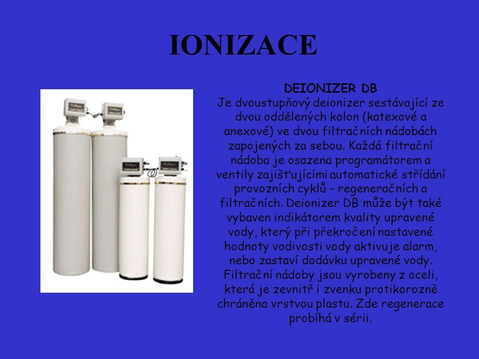 DEIONIZER DB Je dvoustupňový deionizer sestávající ze dvou oddělených kolon (katexové a anexové) ve dvou filtračních nádobách zapojených za sebou.