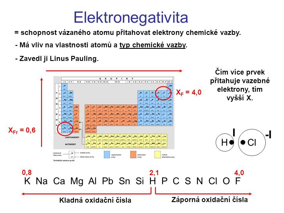 Elektronegativita = schopnost vázaného atomu přitahovat elektrony chemické vazby. - Má vliv na vlastnosti atomů a typ chemické vazby. - Zavedl ji Linu