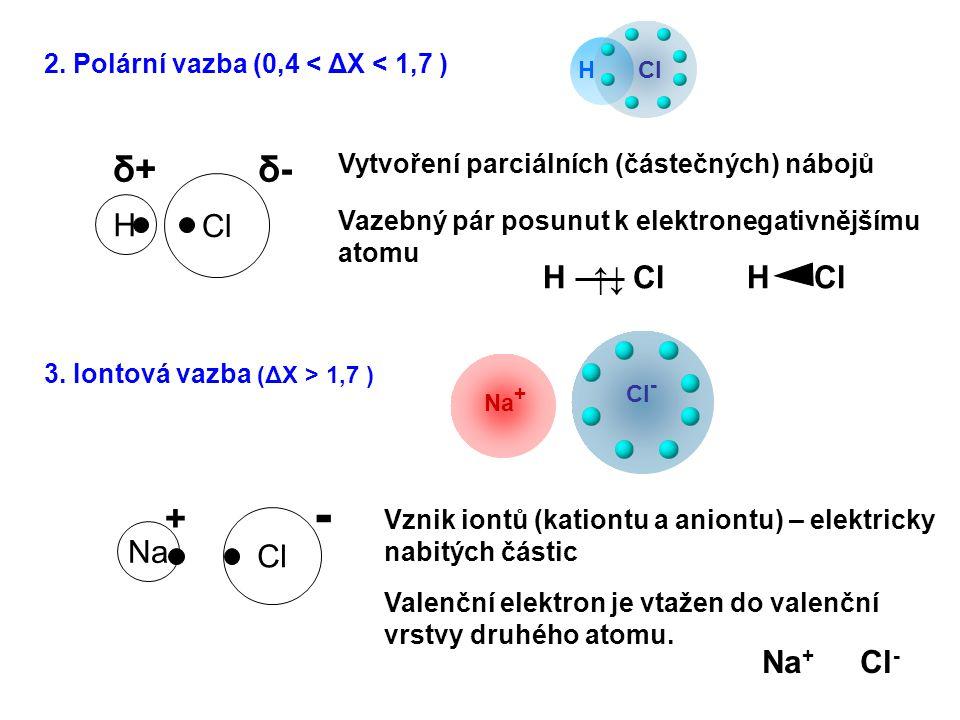 Na - + Cl H δ-δ-δ+δ+ Vytvoření parciálních (částečných) nábojů Vznik iontů (kationtu a aniontu) – elektricky nabitých částic Valenční elektron je vtaž