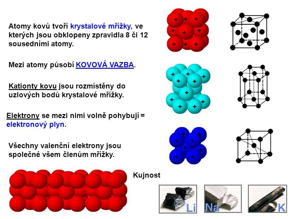 Atomy kovů tvoří krystalové mřížky, ve kterých jsou obklopeny zpravidla 8 či 12 sousedními atomy. Kationty kovu jsou rozmístěny do uzlových bodů kryst