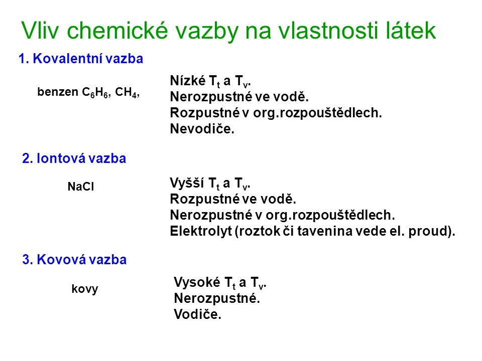 Vliv chemické vazby na vlastnosti látek Vyšší T t a T v. Rozpustné ve vodě. Nerozpustné v org.rozpouštědlech. Elektrolyt (roztok či tavenina vede el.