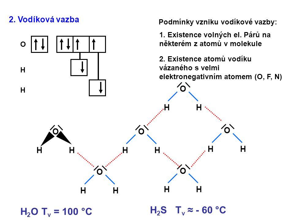 2. Vodíková vazba O H H Podmínky vzniku vodíkové vazby: 1. Existence volných el. Párů na některém z atomů v molekule 2. Existence atomů vodíku vázanéh