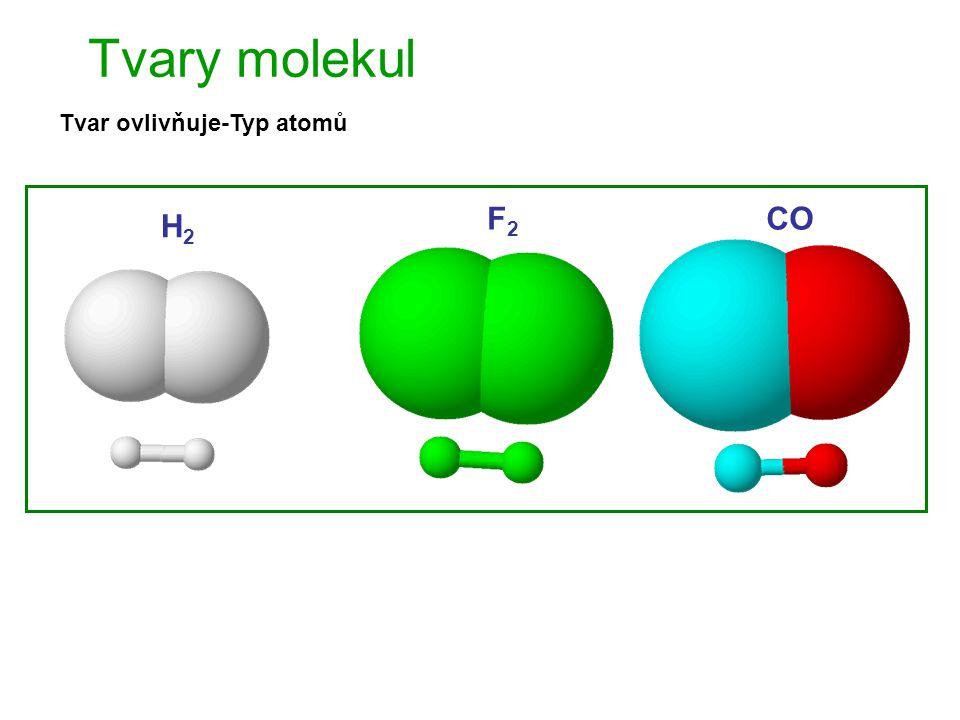 H2H2 F2F2 CO Tvary molekul Tvar ovlivňuje-Typ atomů