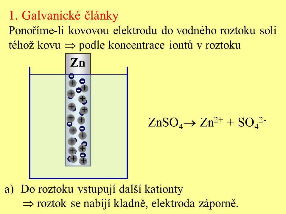 Zn ZnSO 4  Zn 2+ + SO 4 2- + 1. Galvanické články Ponoříme-li kovovou elektrodu do vodného roztoku soli téhož kovu  podle koncentrace iontů v roztok