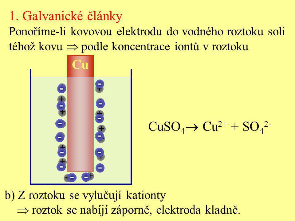 Cu + + + + + + + + + + + + + + + b) Z roztoku se vylučují kationty  roztok se nabíjí záporně, elektroda kladně. CuSO 4  Cu 2+ + SO 4 2- - - - - - -