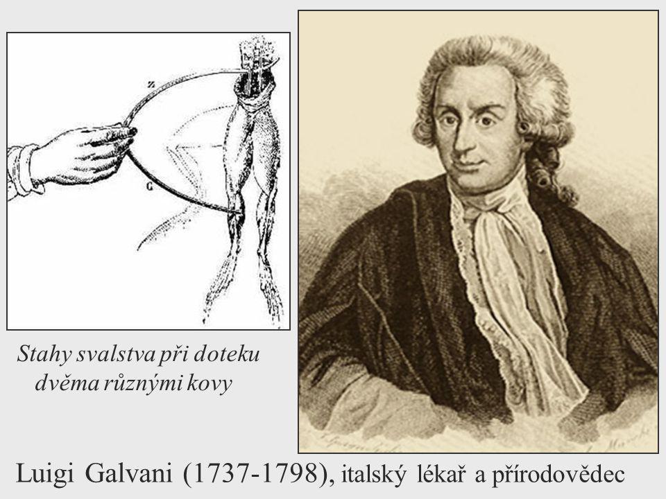 Luigi Galvani (1737-1798), italský lékař a přírodovědec Stahy svalstva při doteku dvěma různými kovy