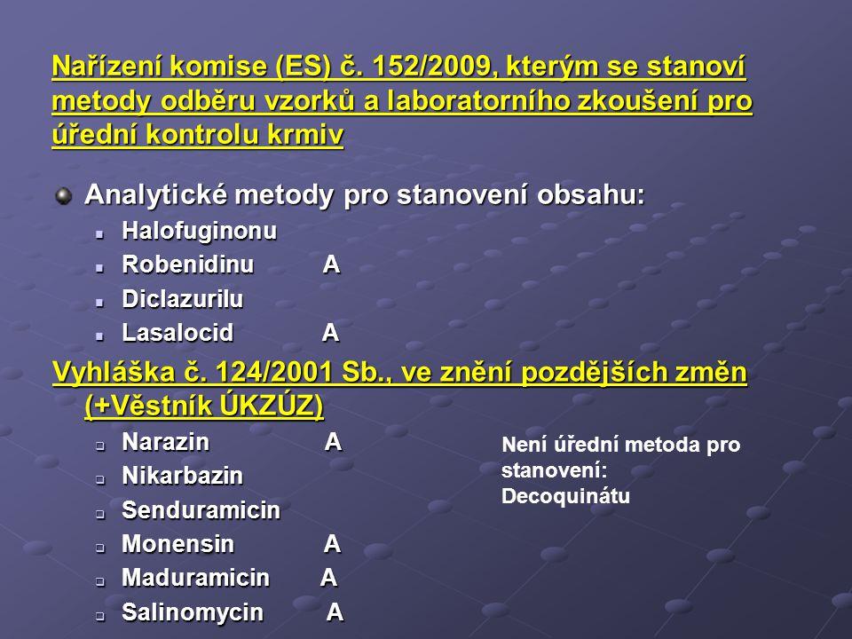 Nařízení komise (ES) č. 152/2009, kterým se stanoví metody odběru vzorků a laboratorního zkoušení pro úřední kontrolu krmiv Analytické metody pro stan