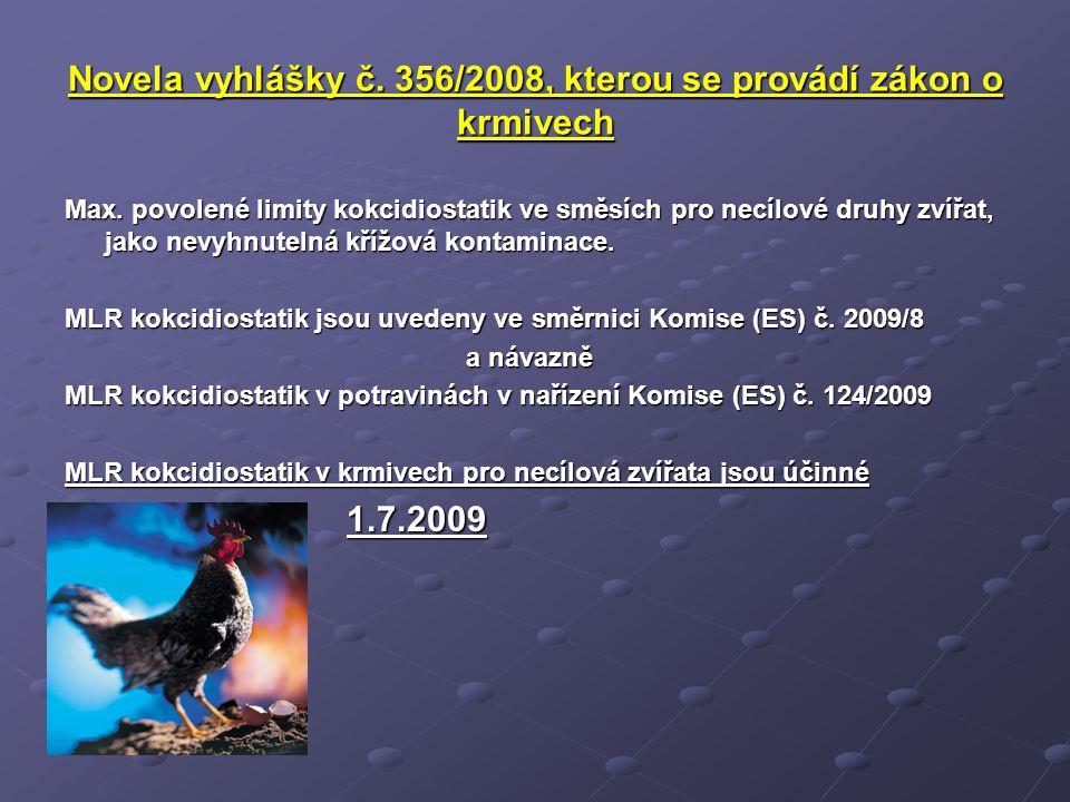 Novela vyhlášky č. 356/2008, kterou se provádí zákon o krmivech Max. povolené limity kokcidiostatik ve směsích pro necílové druhy zvířat, jako nevyhnu