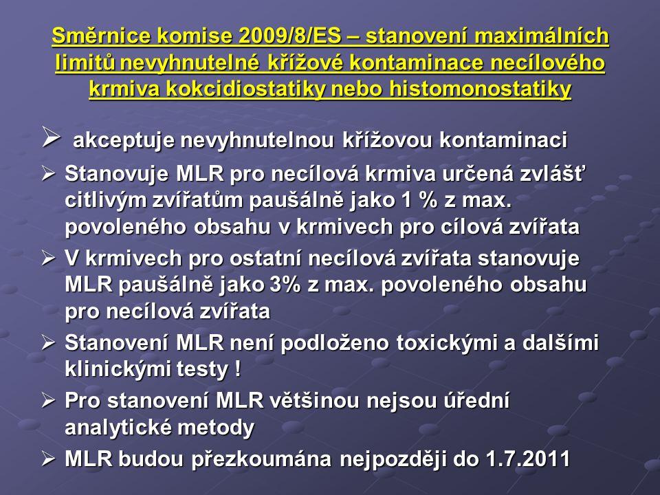 Směrnice komise 2009/8/ES – stanovení maximálních limitů nevyhnutelné křížové kontaminace necílového krmiva kokcidiostatiky nebo histomonostatiky  ak