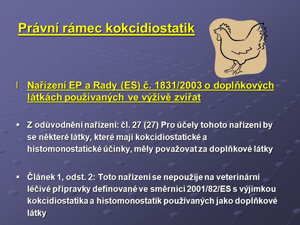 Právní rámec kokcidiostatik lNařízení EP a Rady (ES) č. 1831/2003 o doplňkových látkách používaných ve výživě zvířat  Z odůvodnění nařízení: čl. 27 (