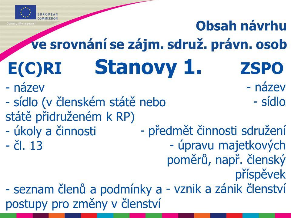 Obsah návrhu ve srovnání se zájm. sdruž. právn. osob E(C)RI Stanovy 1.