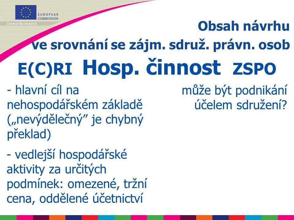 Obsah návrhu ve srovnání se zájm. sdruž. právn. osob E(C)RI Hosp.
