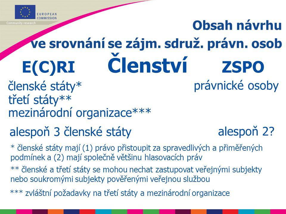 Obsah návrhu ve srovnání se zájm.sdruž. právn. osob E(C)RI Vztah k veř.