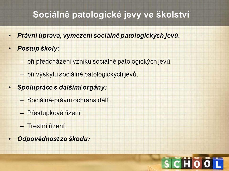 Sociálně patologické jevy ve školství Právní úprava, vymezení sociálně patologických jevů. Postup školy: –při předcházení vzniku sociálně patologickýc