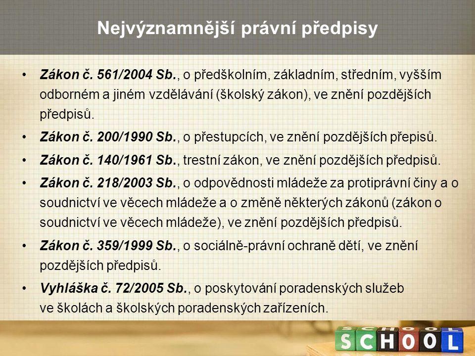 Nejvýznamnější právní předpisy Zákon č. 561/2004 Sb., o předškolním, základním, středním, vyšším odborném a jiném vzdělávání (školský zákon), ve znění